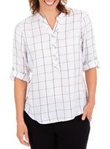 Anna Rose Shimmer Check Top Ivory/Silver - Gallery Image 1