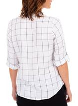 Anna Rose Shimmer Check Top Ivory/Silver - Gallery Image 2