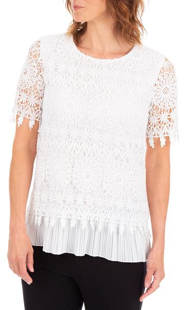 Anna Rose Lace Layered Short Sleeve Top White