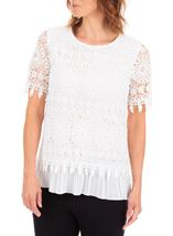 Anna Rose Lace Layered Short Sleeve Top White - Gallery Image 1