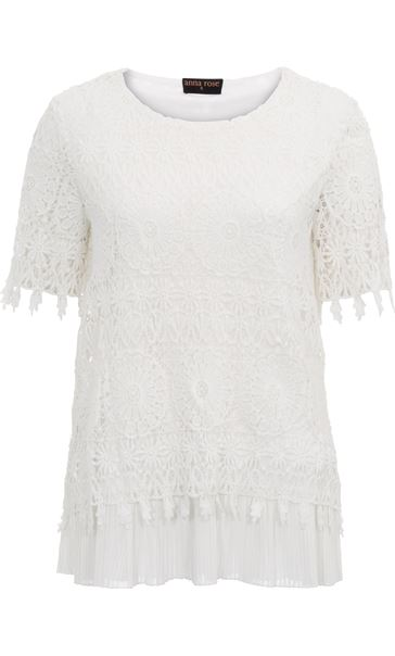 Anna Rose Lace Layered Short Sleeve Top White - Gallery Image 4