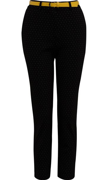 Anna Rose Slim Leg Spot Trousers With Belt Black/White - Gallery Image 4