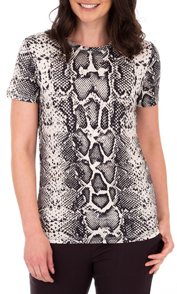 Anna Rose Snake Print Jersey Top Black/Ecru