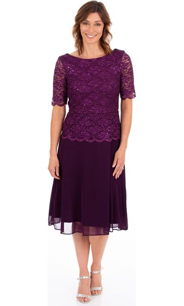 Lace And Mesh Short Sleeve Midi Dress Purple