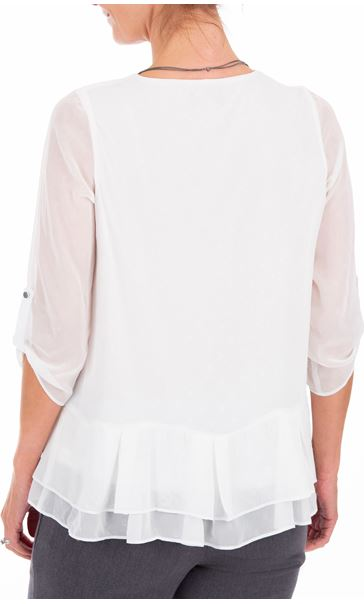 Anna Rose Chiffon Top With Necklace Ivory - Gallery Image 2