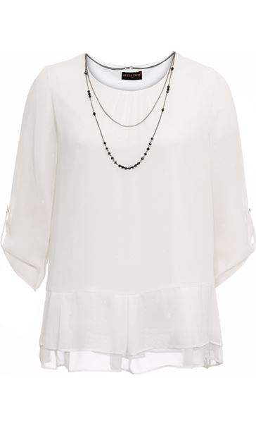 Anna Rose Chiffon Top With Necklace Ivory - Gallery Image 4