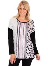 Knit And Patchwork Relaxed Fit Knit Top