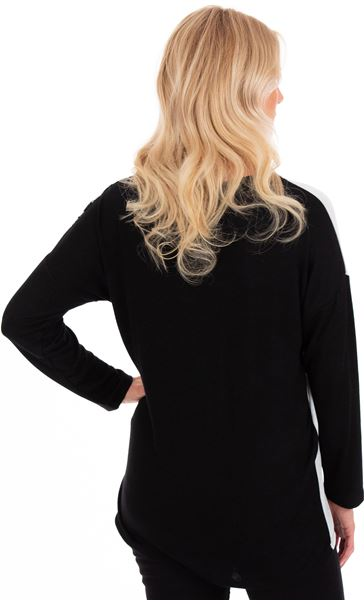 Knit And Patchwork Relaxed Fit Knit Top Black/Grey/Heather - Gallery Image 2