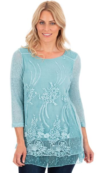 Three Quarter Sleeve Layered Knit Tunic Blue