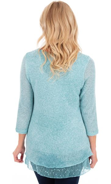 Three Quarter Sleeve Layered Knit Tunic Blue - Gallery Image 2
