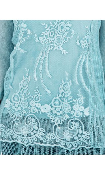 Three Quarter Sleeve Layered Knit Tunic Blue - Gallery Image 3