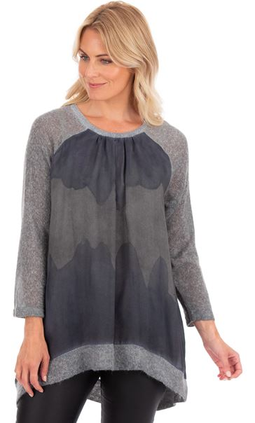 Relaxed Fit Knitted And Printed Tunic Blue