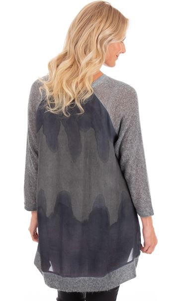 Relaxed Fit Knitted And Printed Tunic Blue - Gallery Image 2