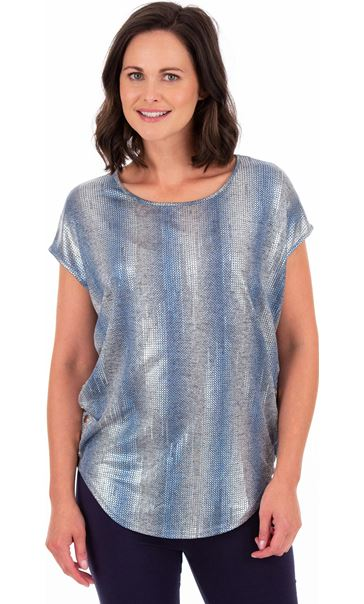Loose Fit Shimmer Top Silver/Blue