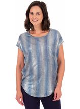 Loose Fit Shimmer Top Silver/Blue - Gallery Image 1