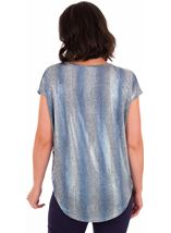 Loose Fit Shimmer Top Silver/Blue - Gallery Image 2