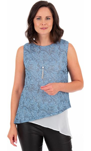 Sleeveless Asymmetric Top With Necklace Blue Fog