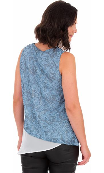 Sleeveless Asymmetric Top With Necklace Blue Fog - Gallery Image 2