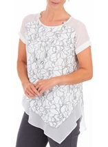 Anna Rose Asymmetric Top With Necklace Ivory/Silver - Gallery Image 1