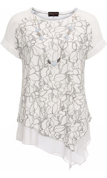 Anna Rose Asymmetric Top With Necklace Ivory/Silver - Gallery Image 2
