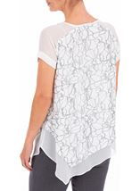 Anna Rose Asymmetric Top With Necklace Ivory/Silver - Gallery Image 3