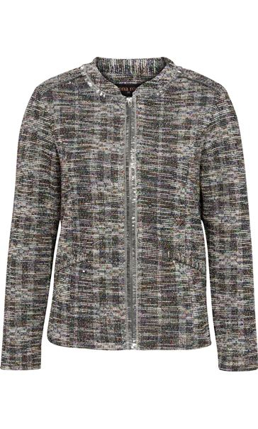 Anna Rose Textured Zip Jacket Lime/Multi - Gallery Image 4