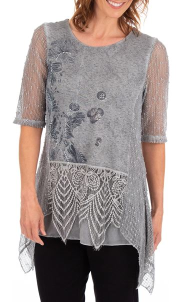 Anna Rose Lace Trim Dip Hem Top Grey