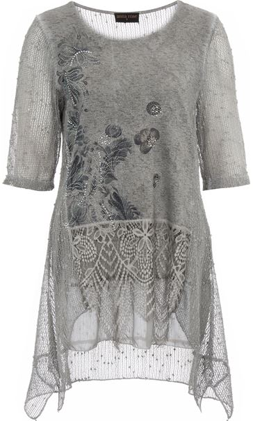 Anna Rose Lace Trim Dip Hem Top Grey - Gallery Image 4