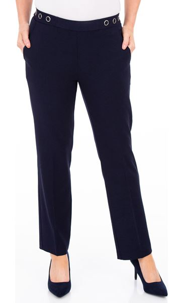 Anna Rose 27 Inch Straight Leg Trousers Navy - Gallery Image 2