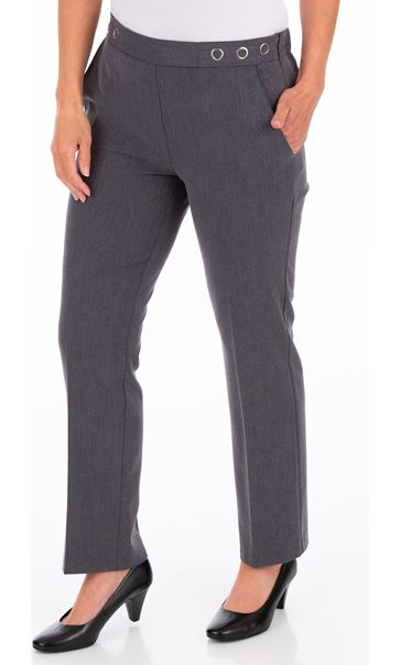 Anna Rose 27 Inch Straight Leg Trousers - Mid Grey