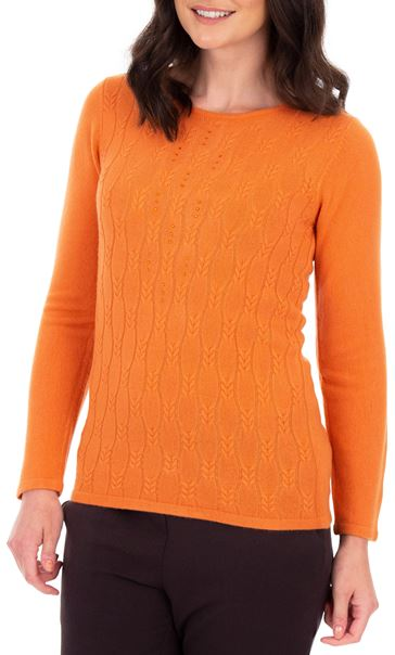 Anna Rose Cable Design Knit Top Orange