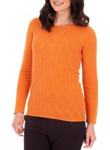Anna Rose Cable Design Knit Top Orange - Gallery Image 1