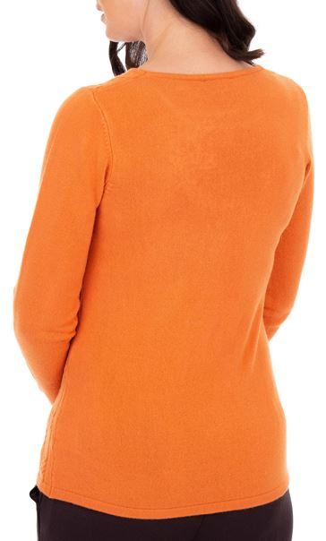 Anna Rose Cable Design Knit Top Orange - Gallery Image 2