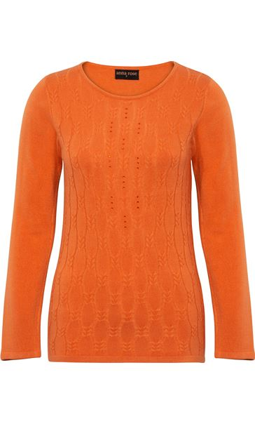 Anna Rose Cable Design Knit Top Orange - Gallery Image 3