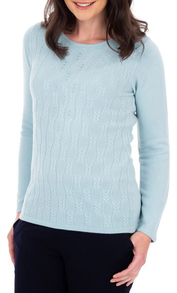 Anna Rose Cable Design Knit Top Blue - Gallery Image 1