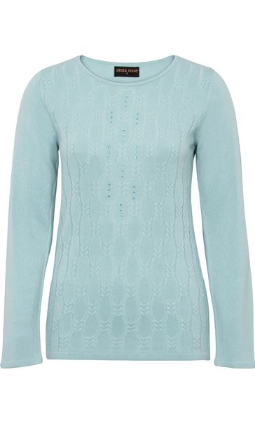 Anna Rose Cable Design Knit Top Blue - Gallery Image 3
