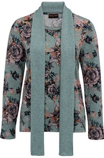 Anna Rose Printed Brushed Knit Top With Scarf