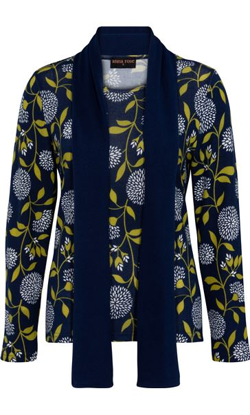 Anna Rose Floral Print Brushed Knit Top With Scarf Navy/Lime