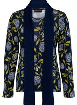 Anna Rose Floral Print Brushed Knit Top With Scarf Navy/Lime - Gallery Image 1