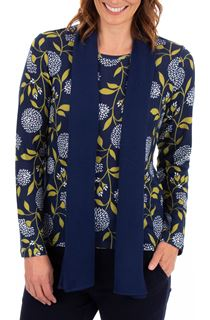 Anna Rose Floral Print Brushed Knit Top With Scarf