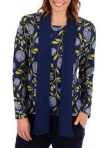 Anna Rose Floral Print Brushed Knit Top With Scarf Navy/Lime - Gallery Image 2