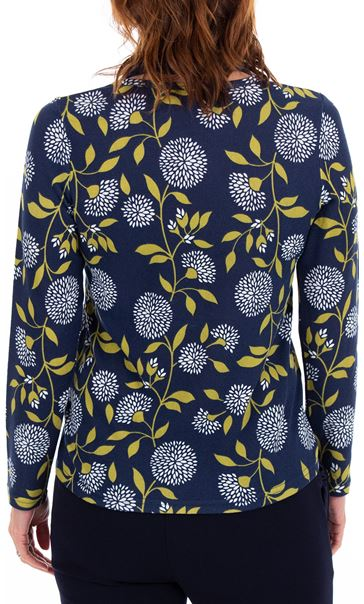 Anna Rose Floral Print Brushed Knit Top With Scarf Navy/Lime - Gallery Image 3