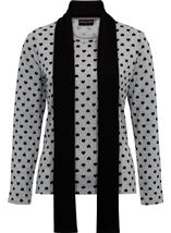 Anna Rose Brushed Knit Print Top With Scarf Grey/Black - Gallery Image 1
