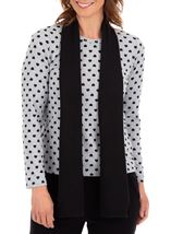 Anna Rose Brushed Knit Print Top With Scarf Grey/Black - Gallery Image 2