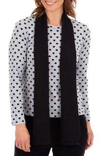 Anna Rose Brushed Knit Print Top With Scarf