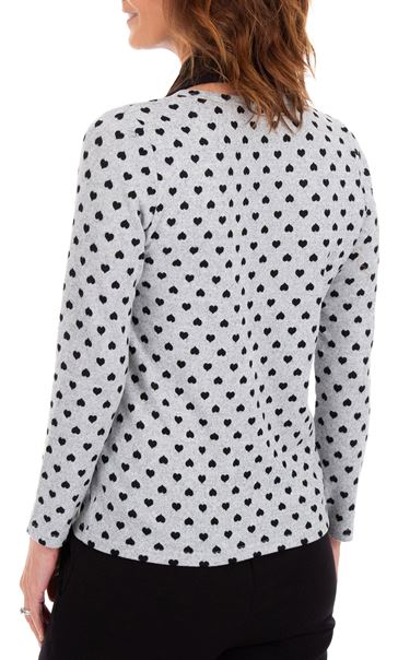 Anna Rose Brushed Knit Print Top With Scarf Grey/Black - Gallery Image 3