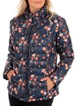 Anna Rose Pack Away Floral Coat Navy Floral - Gallery Image 1