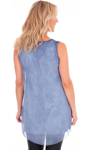 Sleeveless Layered Sequin Trim Top Blue Velvet - Gallery Image 2