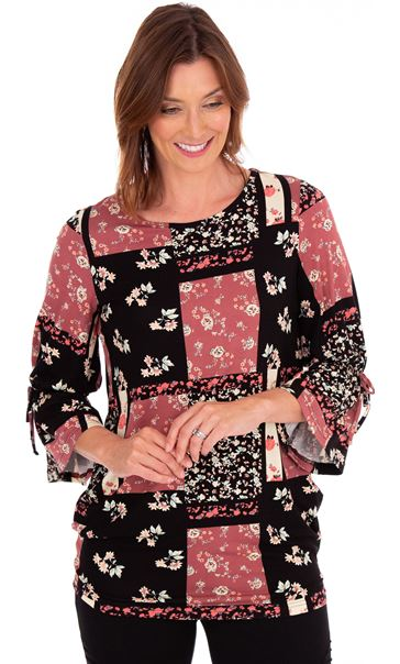 Printed Jersey Flute Sleeve Tunic Black/Pink