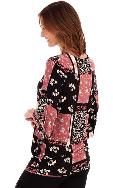 Printed Jersey Flute Sleeve Tunic Black/Pink - Gallery Image 2
